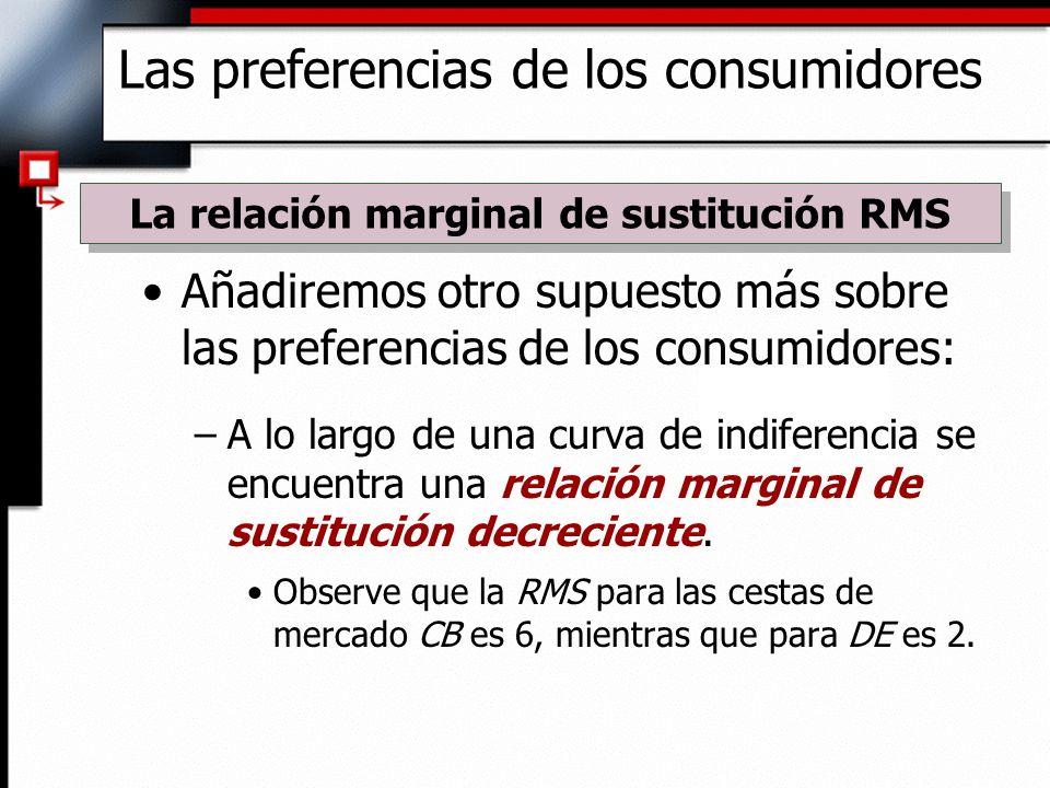 Añadiremos otro supuesto más sobre las preferencias de los consumidores: –A lo largo de una curva de indiferencia se encuentra una relación marginal d