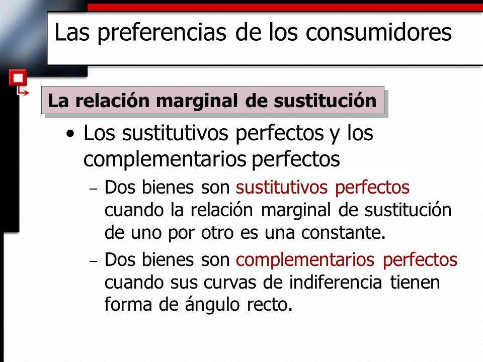 Los sustitutivos perfectos y los complementarios perfectos – Dos bienes son sustitutivos perfectos cuando la relación marginal de sustitución de uno p