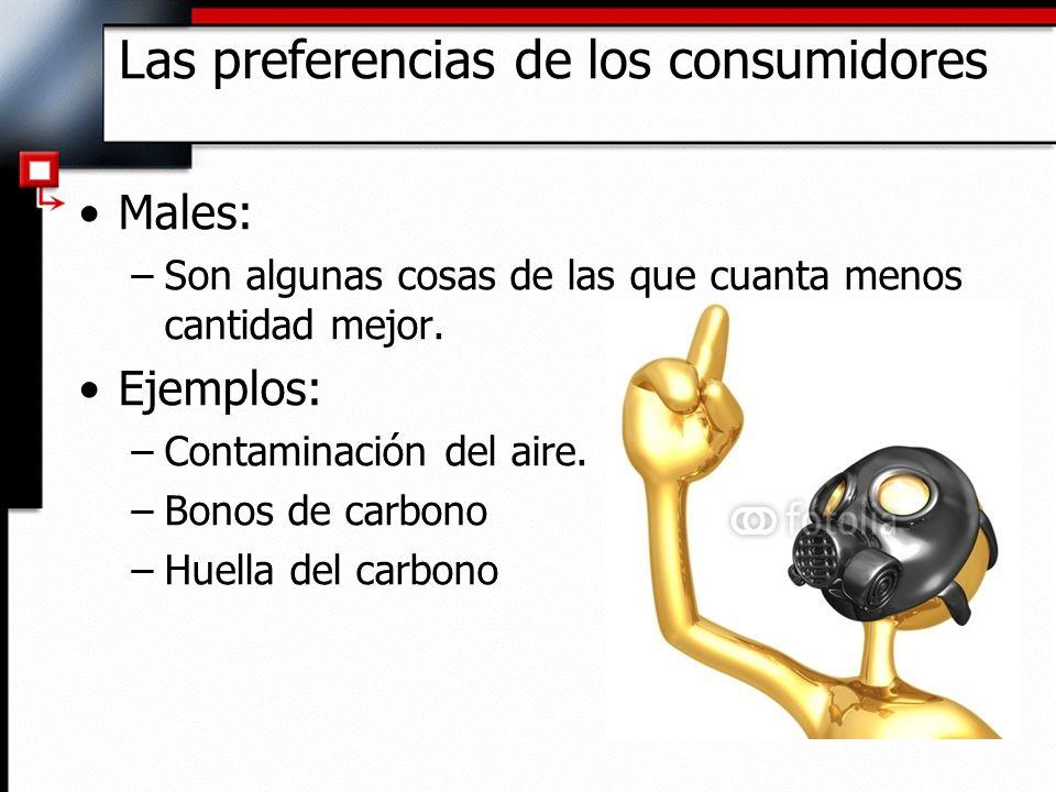 Males: –Son algunas cosas de las que cuanta menos cantidad mejor. Ejemplos: –Contaminación del aire. –Bonos de carbono –Huella del carbono Las prefere