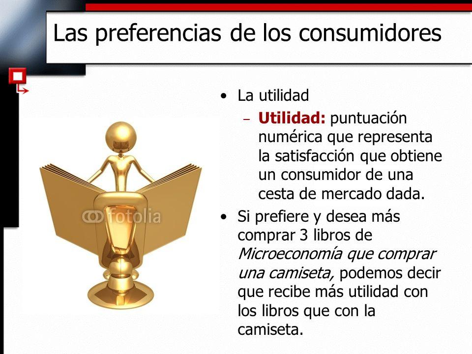 La utilidad – Utilidad: puntuación numérica que representa la satisfacción que obtiene un consumidor de una cesta de mercado dada. Si prefiere y desea