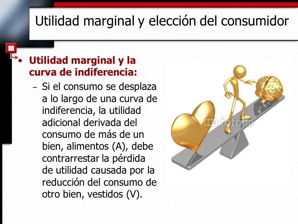 Utilidad marginal y la curva de indiferencia: – Si el consumo se desplaza a lo largo de una curva de indiferencia, la utilidad adicional derivada del