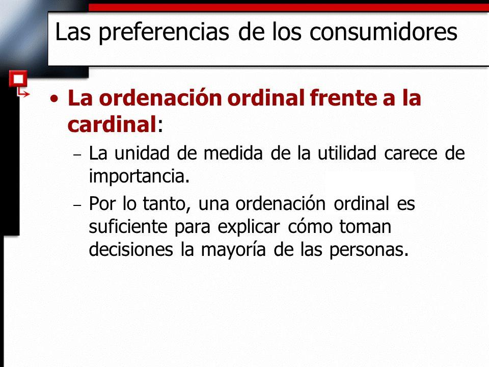 La ordenación ordinal frente a la cardinal: – La unidad de medida de la utilidad carece de importancia. – Por lo tanto, una ordenación ordinal es sufi