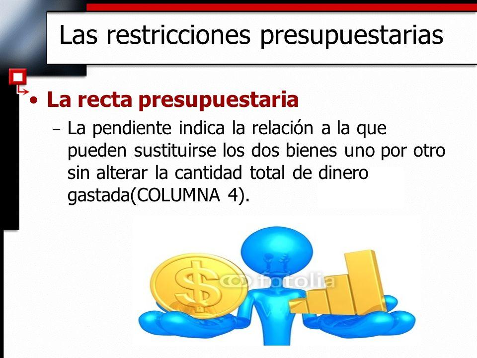 La recta presupuestaria – La pendiente indica la relación a la que pueden sustituirse los dos bienes uno por otro sin alterar la cantidad total de din
