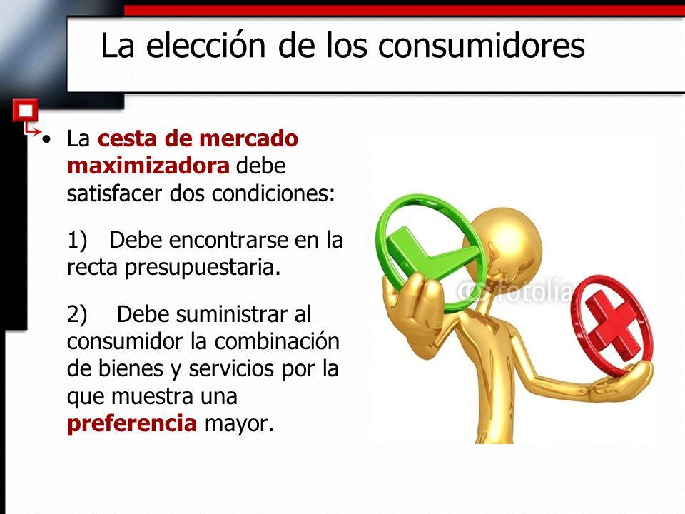 La cesta de mercado maximizadora debe satisfacer dos condiciones: 1) Debe encontrarse en la recta presupuestaria. 2) Debe suministrar al consumidor la