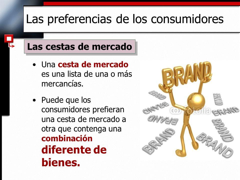 Las preferencias de los consumidores Una cesta de mercado es una lista de una o más mercancías. Puede que los consumidores prefieran una cesta de merc