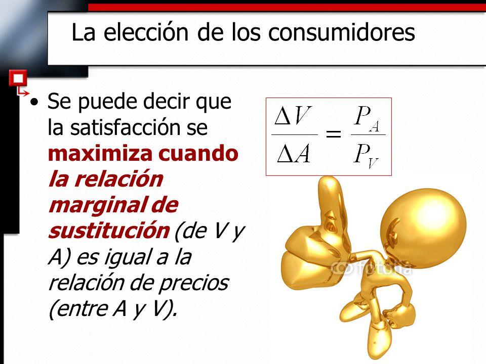 Se puede decir que la satisfacción se maximiza cuando la relación marginal de sustitución (de V y A) es igual a la relación de precios (entre A y V).