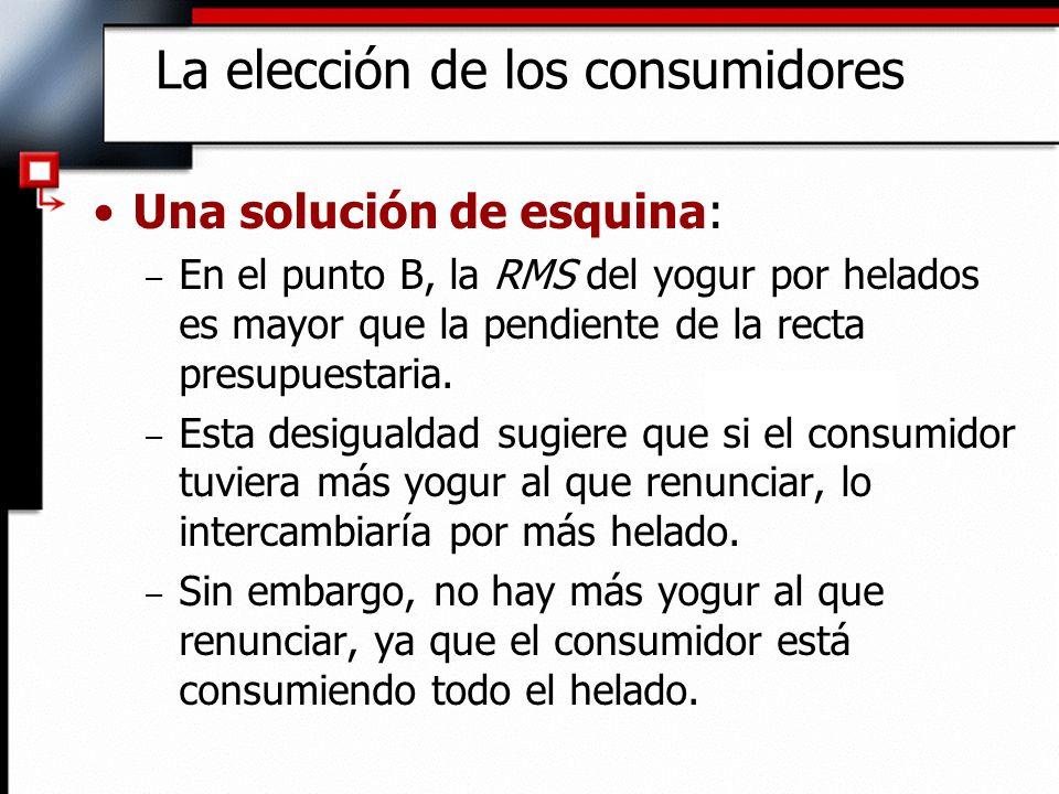 La elección de los consumidores Una solución de esquina: – En el punto B, la RMS del yogur por helados es mayor que la pendiente de la recta presupues