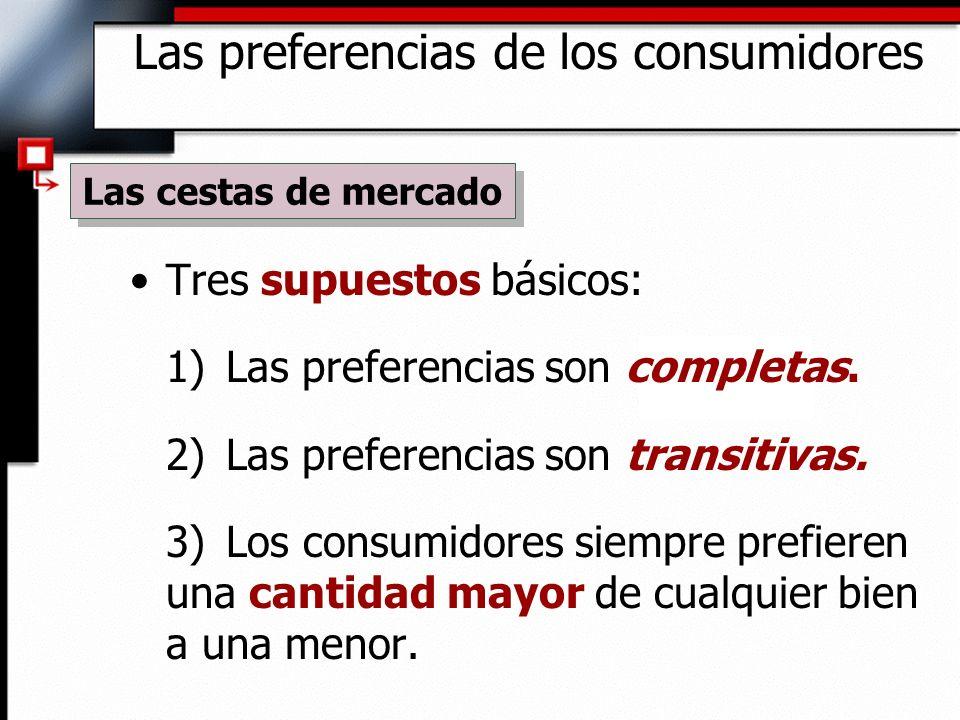 Tres supuestos básicos: 1) Las preferencias son completas. 2) Las preferencias son transitivas. 3) Los consumidores siempre prefieren una cantidad may