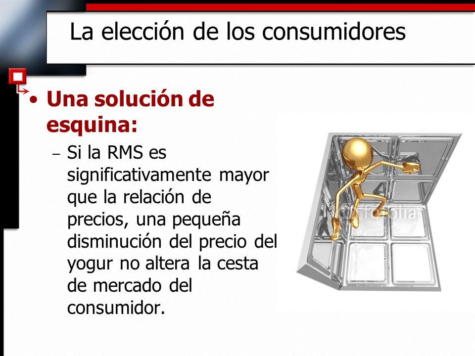 Una solución de esquina: – Si la RMS es significativamente mayor que la relación de precios, una pequeña disminución del precio del yogur no altera la