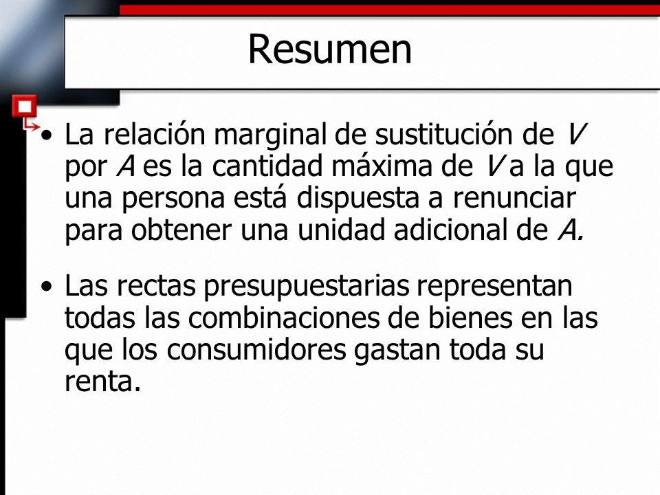 La relación marginal de sustitución de V por A es la cantidad máxima de V a la que una persona está dispuesta a renunciar para obtener una unidad adic
