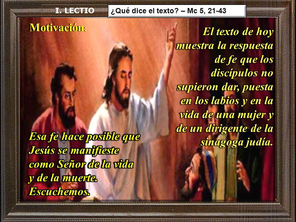 Mc 5:21-43 Al regresar Jesús, mucha gente se aglomeró junto a él a la orilla del lago.