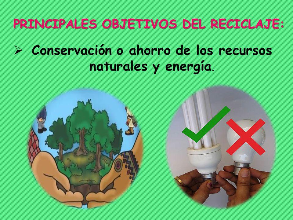 Conservación o ahorro de los recursos naturales y energía. PRINCIPALES OBJETIVOS DEL RECICLAJE: