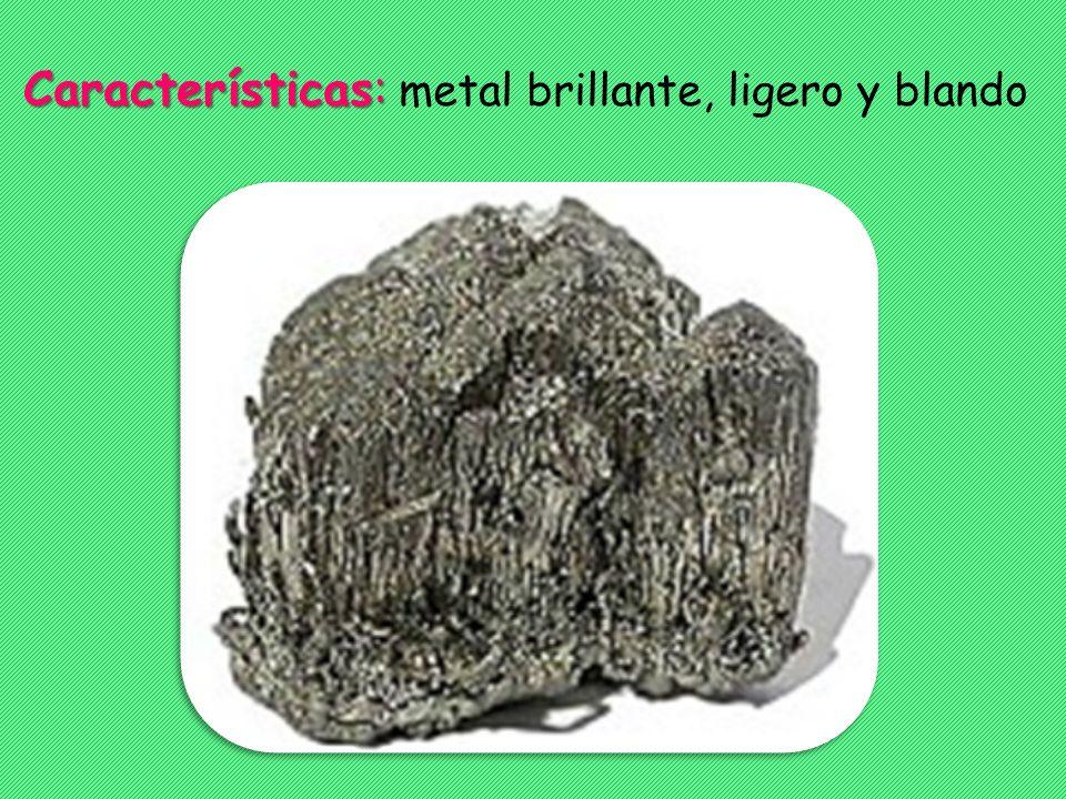 Características: Características: metal brillante, ligero y blando