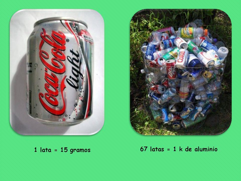 1 lata = 15 gramos 67 latas = 1 k de aluminio
