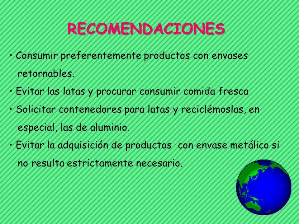 RECOMENDACIONES Consumir preferentemente productos con envases retornables. Evitar las latas y procurar consumir comida fresca Solicitar contenedores