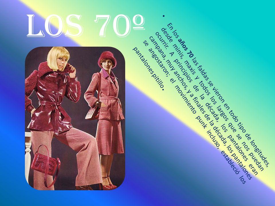 Los 70º En los años 70 las faldas se vieron en todo tipo de longitudes, desde minis, maxis y todos los largos que se nos puedan ocurrir.