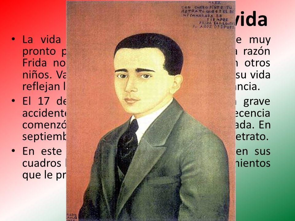 Su vida La vida de Frida estuvo marcada desde muy pronto por el sufrimiento físico. Por esta razón Frida no podía pasar mucho tiempo con otros niños.
