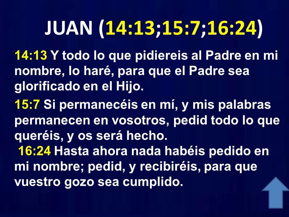 JUAN (14:13;15:7;16:24) 14:13 Y todo lo que pidiereis al Padre en mi nombre, lo haré, para que el Padre sea glorificado en el Hijo. 15:7 Si permanecéi