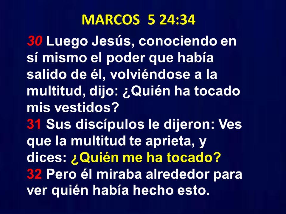 MARCOS 5 24:34 30 Luego Jesús, conociendo en sí mismo el poder que había salido de él, volviéndose a la multitud, dijo: ¿Quién ha tocado mis vestidos?