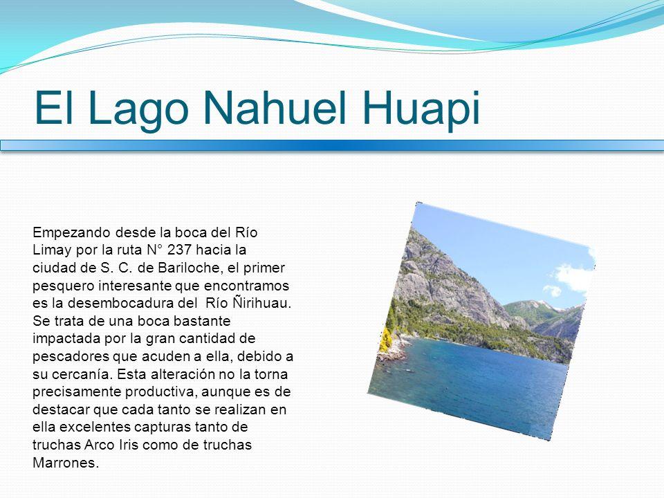 El Lago Nahuel Huapi Empezando desde la boca del Río Limay por la ruta N° 237 hacia la ciudad de S. C. de Bariloche, el primer pesquero interesante qu