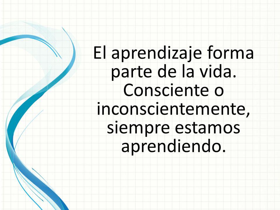 El aprendizaje forma parte de la vida. Consciente o inconscientemente, siempre estamos aprendiendo.