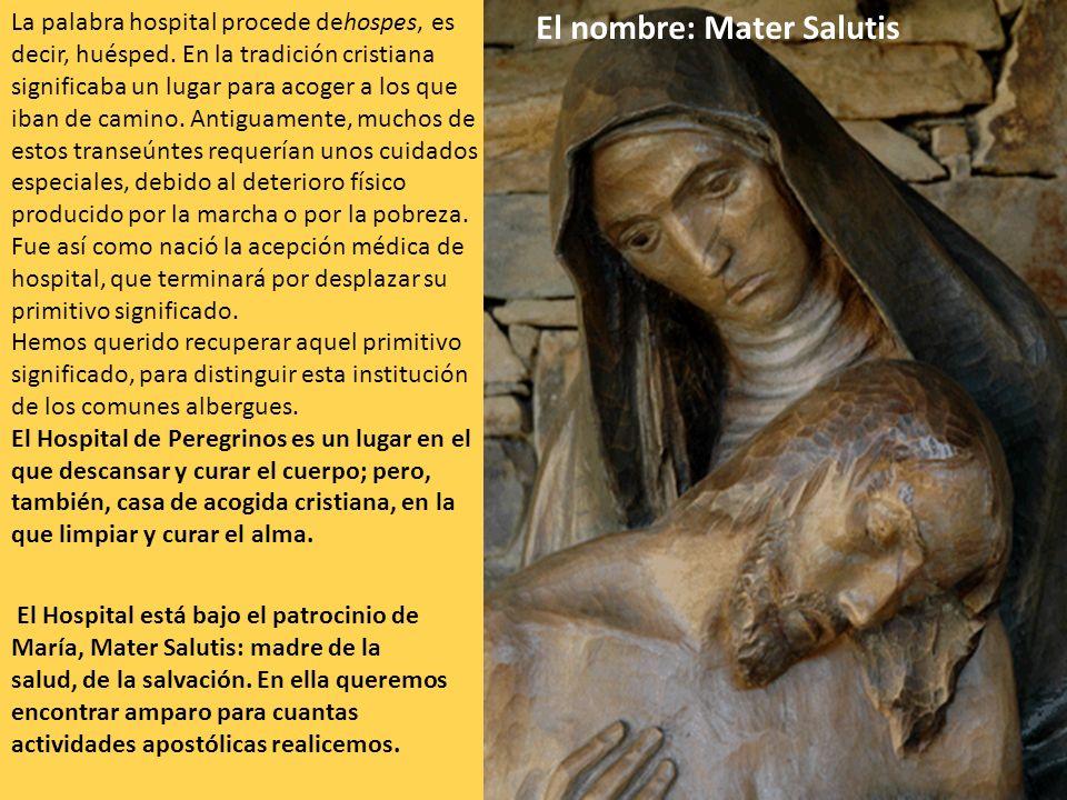 El nombre: Mater Salutis La palabra hospital procede dehospes, es decir, huésped. En la tradición cristiana significaba un lugar para acoger a los que