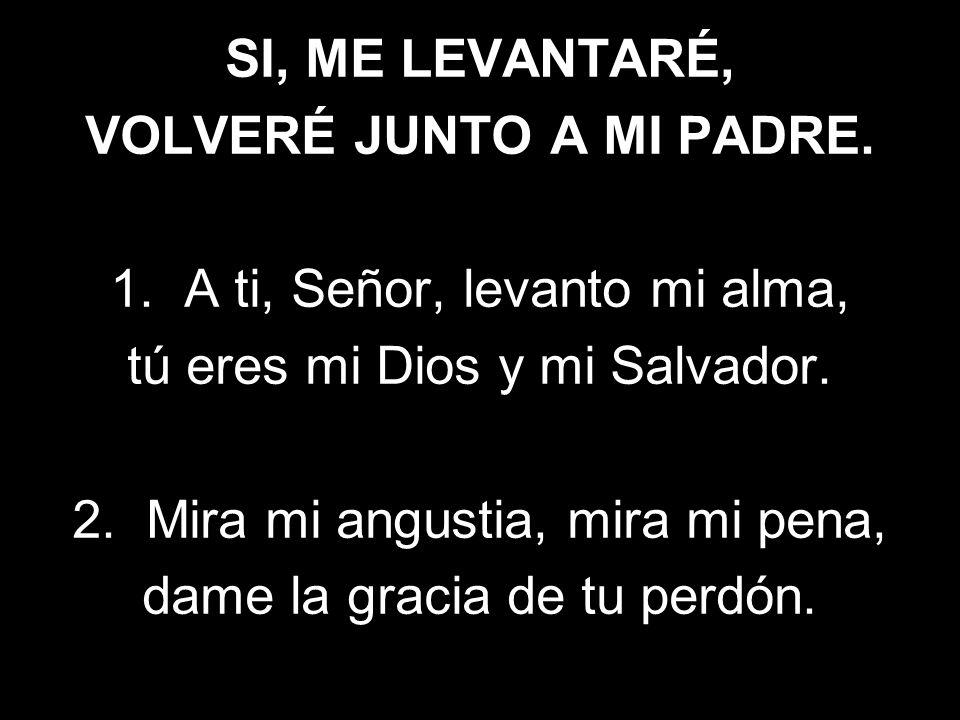 SI, ME LEVANTARÉ, VOLVERÉ JUNTO A MI PADRE. 1. A ti, Señor, levanto mi alma, tú eres mi Dios y mi Salvador. 2. Mira mi angustia, mira mi pena, dame la