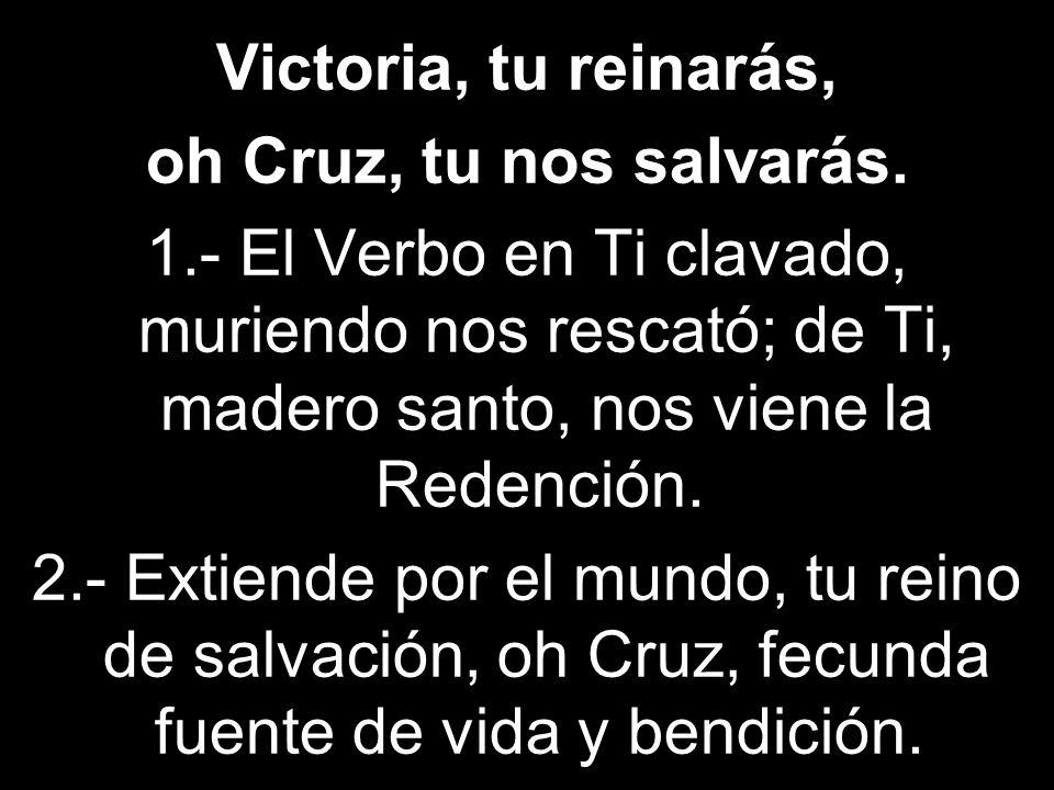 Victoria, tu reinarás, oh Cruz, tu nos salvarás. 1.- El Verbo en Ti clavado, muriendo nos rescató; de Ti, madero santo, nos viene la Redención. 2.- Ex