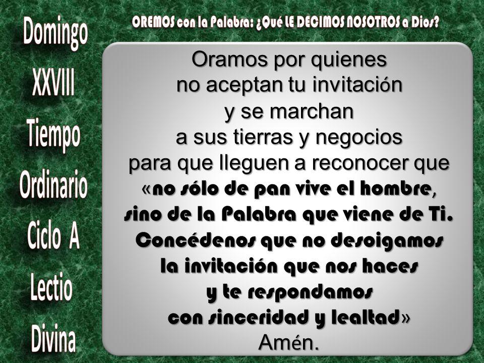 Oramos por quienes no aceptan tu invitaci ó n y se marchan a sus tierras y negocios para que lleguen a reconocer que « no sólo de pan vive el hombre, sino de la Palabra que viene de Ti.