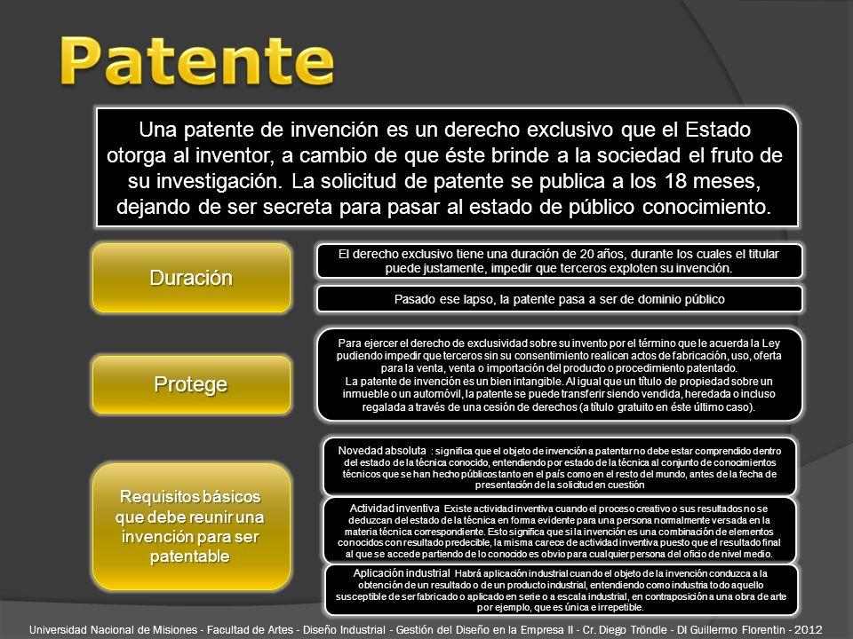 Una patente de invención es un derecho exclusivo que el Estado otorga al inventor, a cambio de que éste brinde a la sociedad el fruto de su investigac