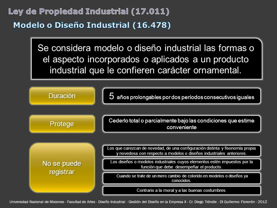 Se considera modelo o diseño industrial las formas o el aspecto incorporados o aplicados a un producto industrial que le confieren carácter ornamental
