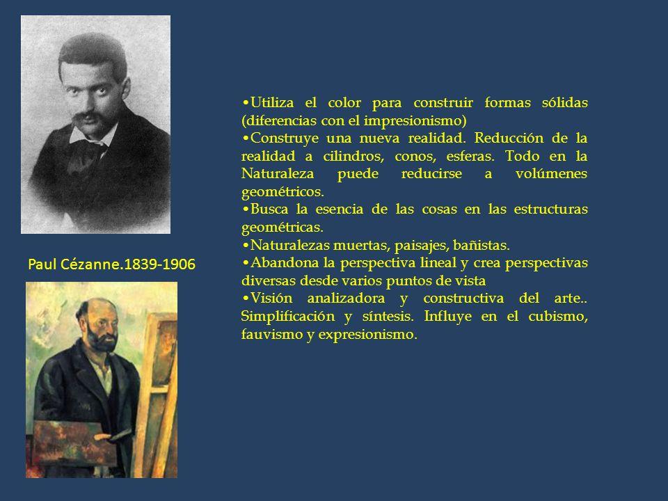 Paul Cézanne.1839-1906 Utiliza el color para construir formas sólidas (diferencias con el impresionismo) Construye una nueva realidad. Reducción de la