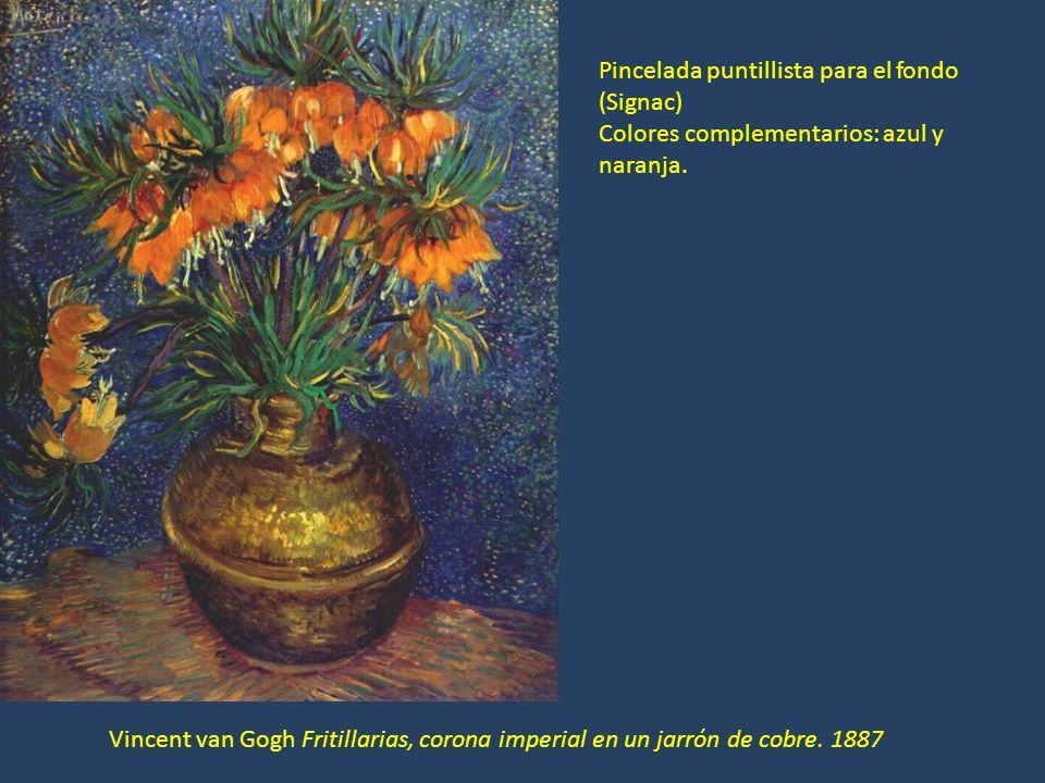Vincent van Gogh Fritillarias, corona imperial en un jarrón de cobre. 1887 Pincelada puntillista para el fondo (Signac) Colores complementarios: azul