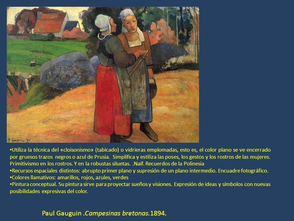 Paul Gauguin.Campesinas bretonas.1894. Utiliza la técnica del «cloisonismo» (tabicado) o vidrieras emplomadas, esto es, el color plano se ve encerrado