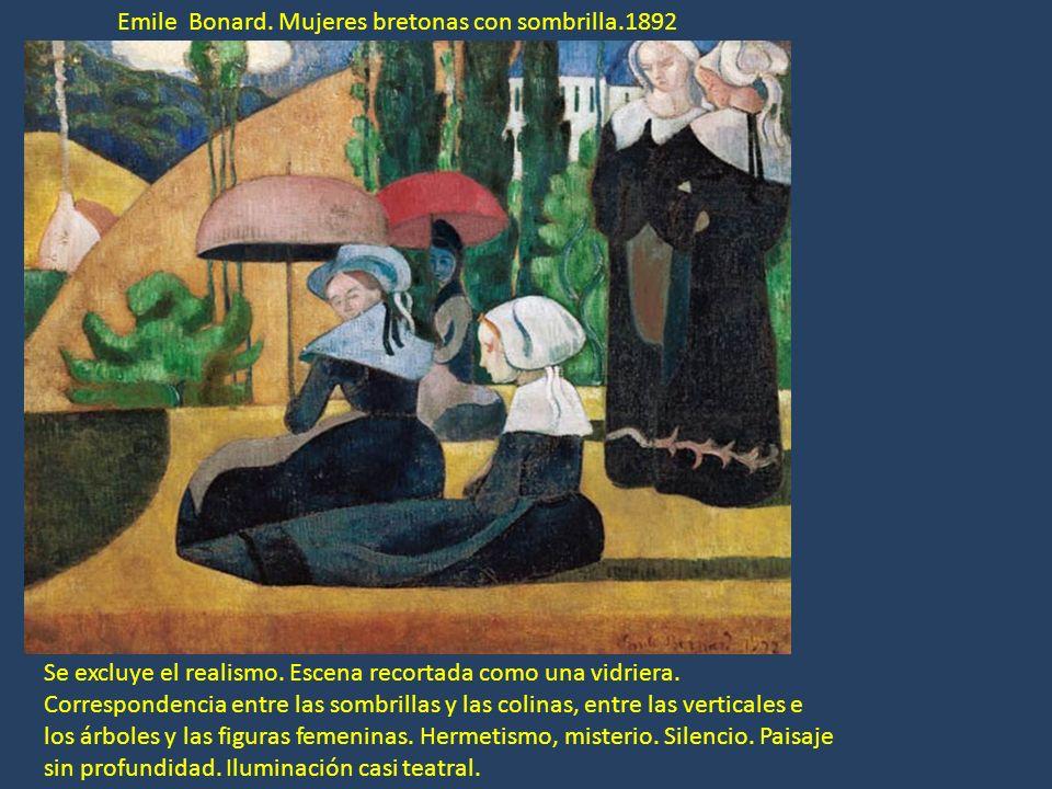 Emile Bonard. Mujeres bretonas con sombrilla.1892 Se excluye el realismo. Escena recortada como una vidriera. Correspondencia entre las sombrillas y l