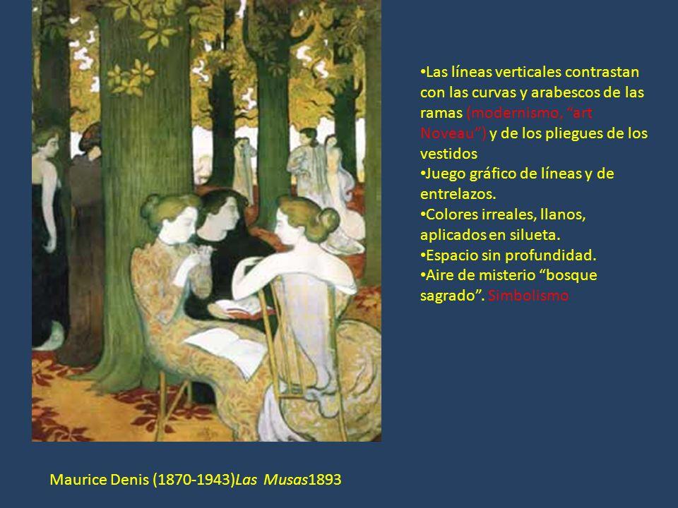 Maurice Denis (1870-1943)Las Musas1893 Las líneas verticales contrastan con las curvas y arabescos de las ramas (modernismo, art Noveau) y de los plie