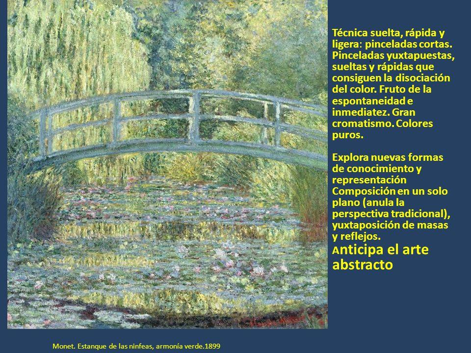 Edgar Degás.1834-1917 Prefiere los interiores al aire libre, el ser humano a la naturaleza y la luz artificial a la natural.