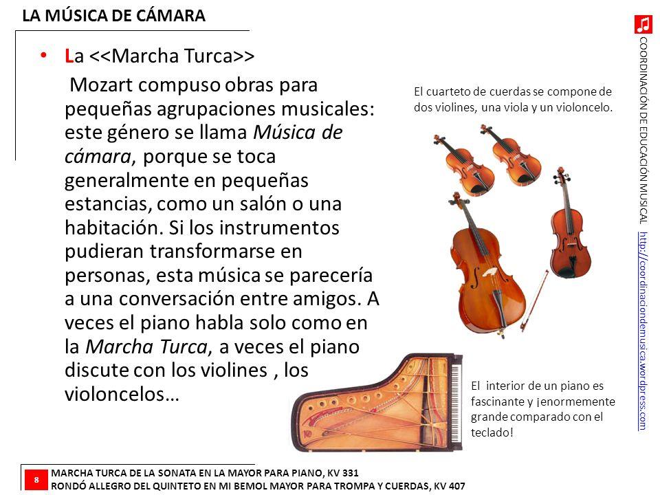 COORDINACIÓN DE EDUCACIÓN MUSICAL http://coordinaciondemusica.wordpress.comhttp://coordinaciondemusica.wordpress.com La > Mozart compuso obras para pe