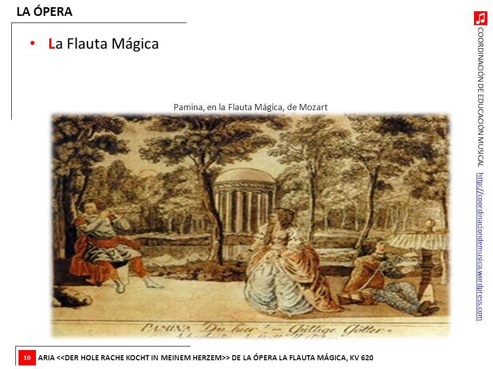 COORDINACIÓN DE EDUCACIÓN MUSICAL http://coordinaciondemusica.wordpress.comhttp://coordinaciondemusica.wordpress.com La Flauta Mágica LA ÓPERA ARIA >