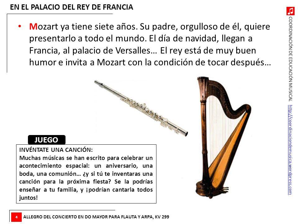 COORDINACIÓN DE EDUCACIÓN MUSICAL http://coordinaciondemusica.wordpress.comhttp://coordinaciondemusica.wordpress.com Mozart ya tiene siete años. Su pa