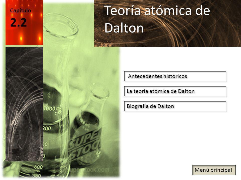 Capitulo 2.2 Teoría atómica de Dalton Antecedentes históricos La teoría atómica de Dalton Biografía de Dalton Menú principal