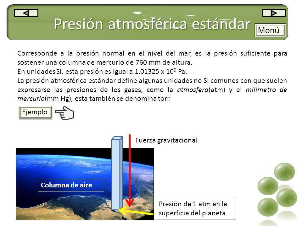Presión atmosférica estándar Corresponde a la presión normal en el nivel del mar, es la presión suficiente para sostener una columna de mercurio de 76