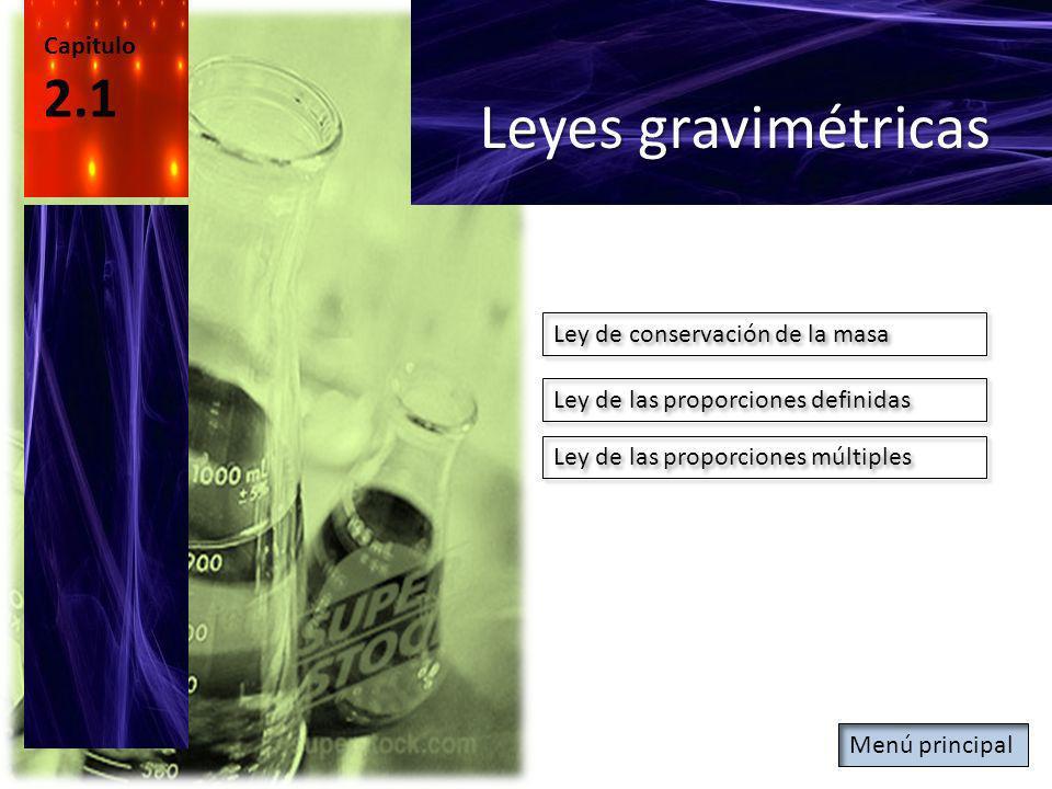 Capitulo 2.1 Leyes gravimétricas Ley de conservación de la masa Ley de las proporciones definidas Ley de las proporciones múltiples Menú principal