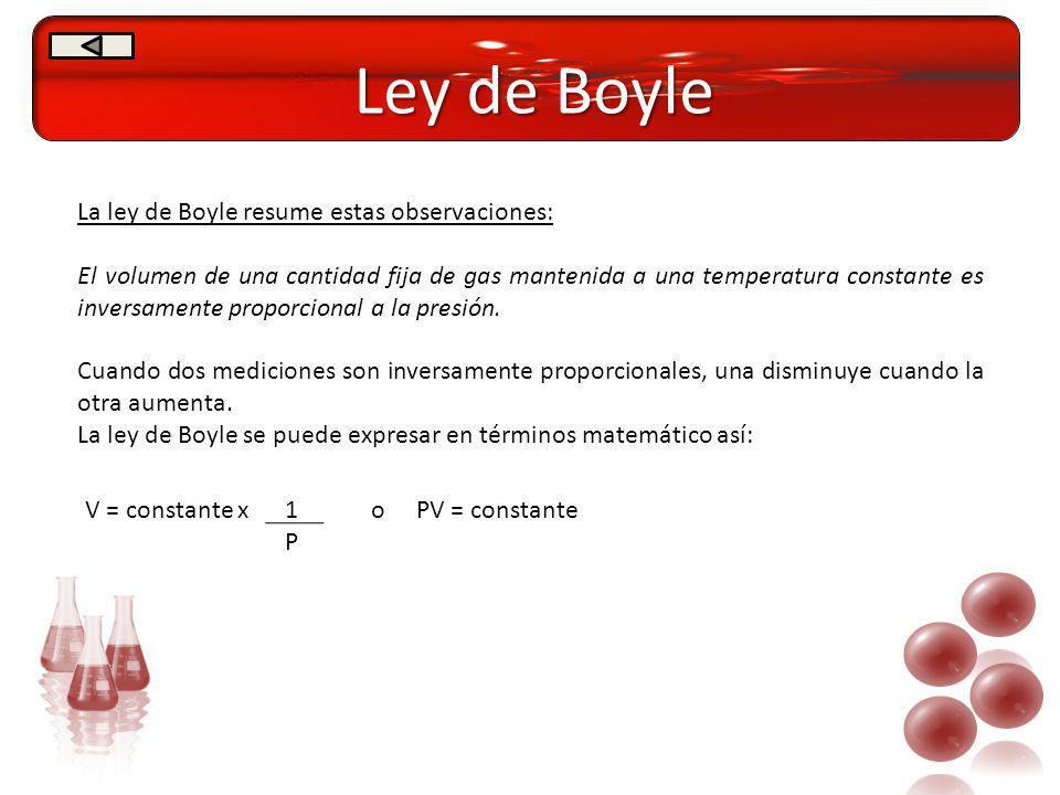 Ley de Boyle La ley de Boyle resume estas observaciones: El volumen de una cantidad fija de gas mantenida a una temperatura constante es inversamente