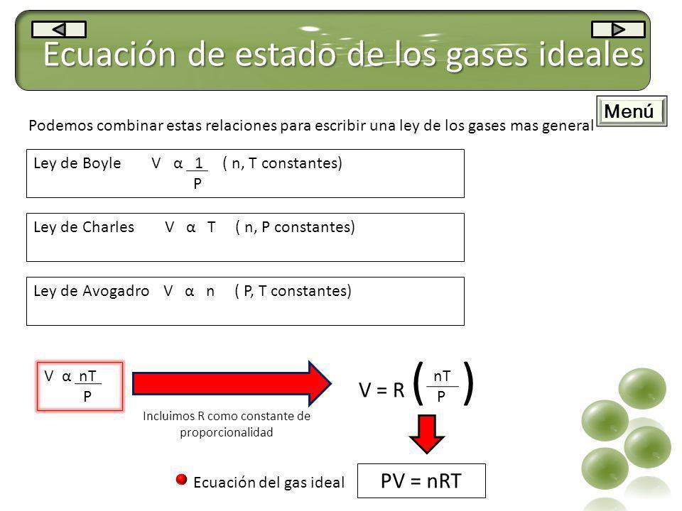 Ecuación de estado de los gases ideales Ley de Boyle V α 1 ( n, T constantes) P Ley de Charles V α T ( n, P constantes) Ley de Avogadro V α n ( P, T c
