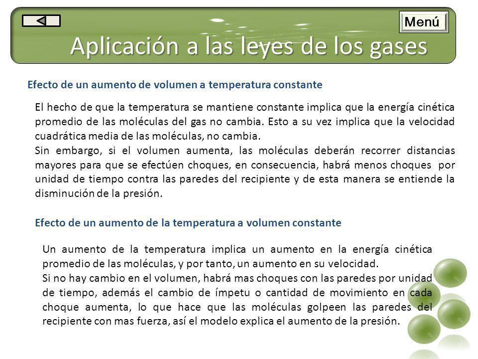 Aplicación a las leyes de los gases Efecto de un aumento de volumen a temperatura constante El hecho de que la temperatura se mantiene constante impli