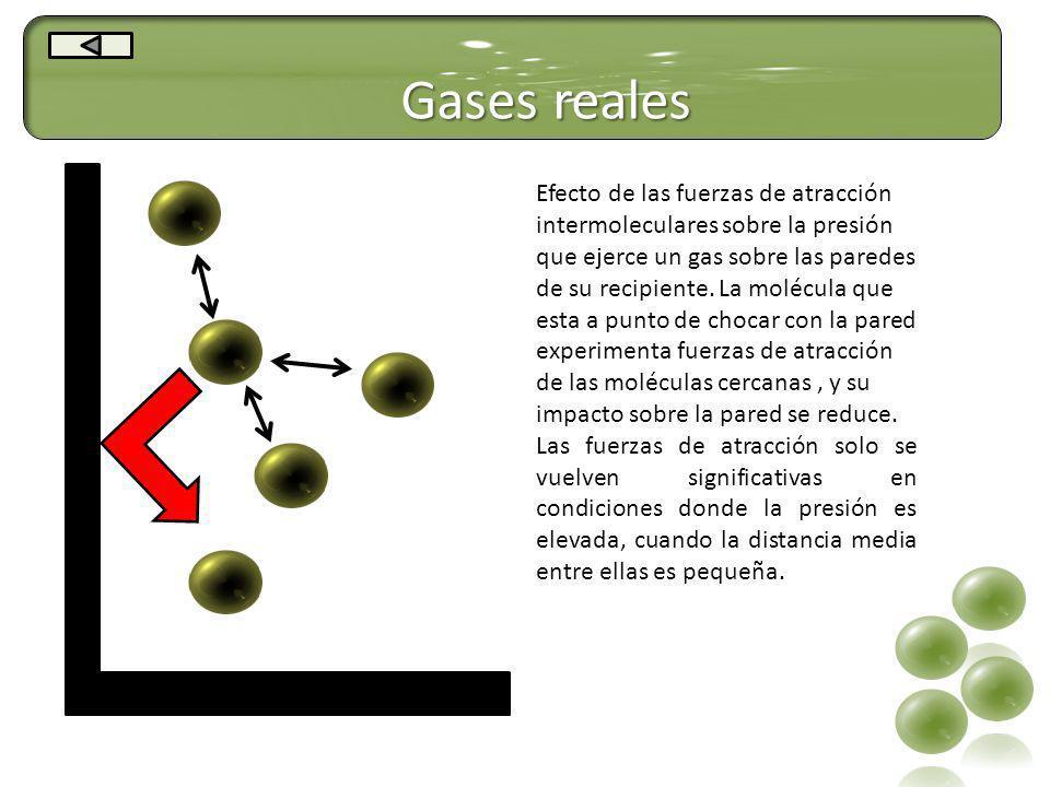 Gases reales Efecto de las fuerzas de atracción intermoleculares sobre la presión que ejerce un gas sobre las paredes de su recipiente. La molécula qu