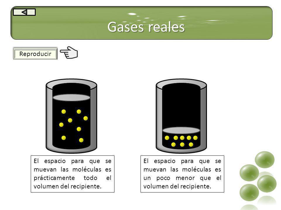 Gases reales Reproducir El espacio para que se muevan las moléculas es prácticamente todo el volumen del recipiente. El espacio para que se muevan las