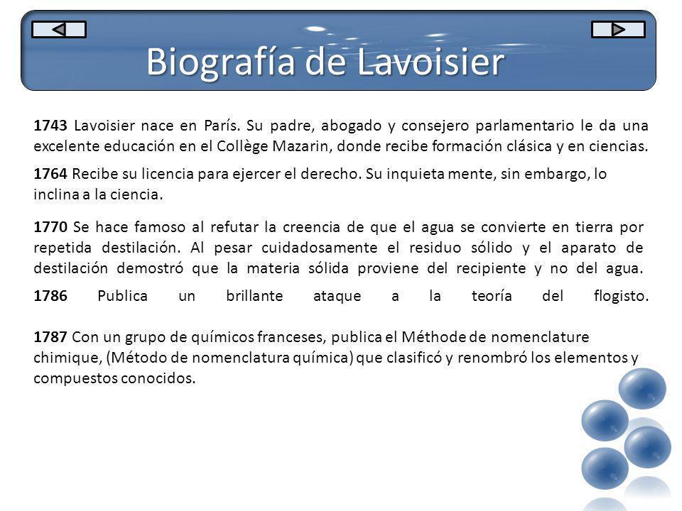 Biografía de Lavoisier 1743 Lavoisier nace en París. Su padre, abogado y consejero parlamentario le da una excelente educación en el Collège Mazarin,