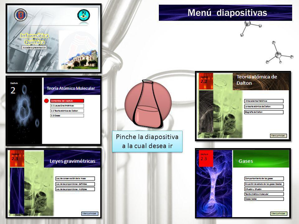 Menú diapositivas Pinche la diapositiva a la cual desea ir
